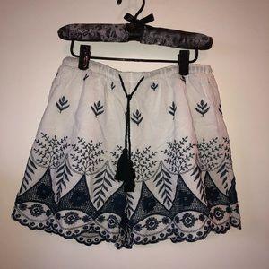 Pants - Blue and White Crochet Shorts Med